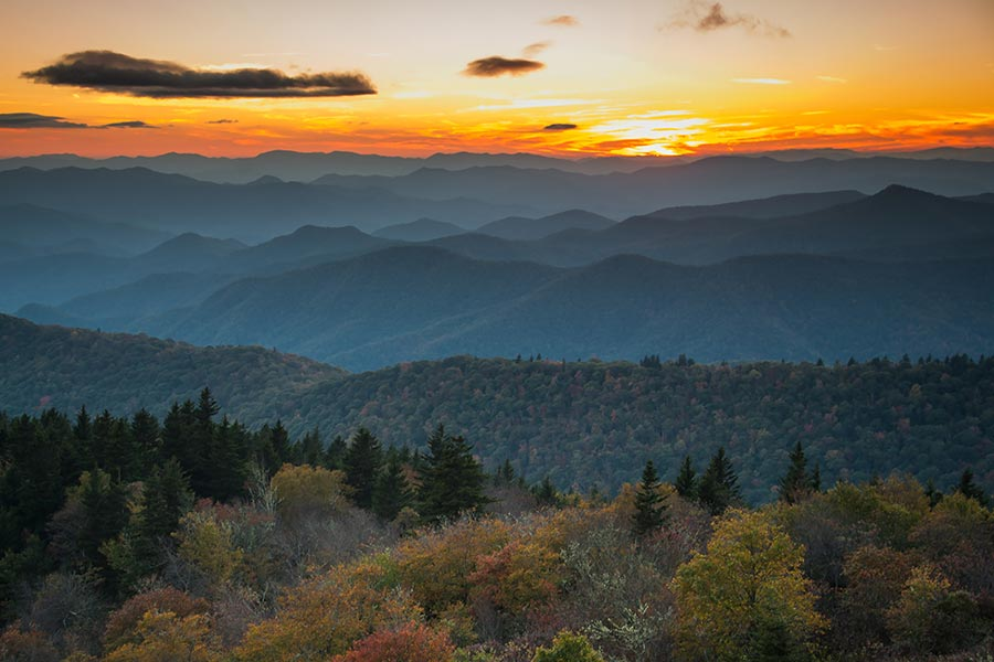 Sunsets over the mountains in Blowing Rock can be enjoyed on most mountain side homes and condos.