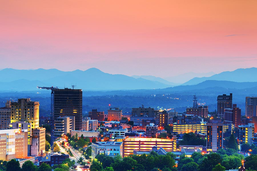 Asheville has all of the amenities of a large city but is located in a mountain setting only an hour and a half from Blowing Rock NC.