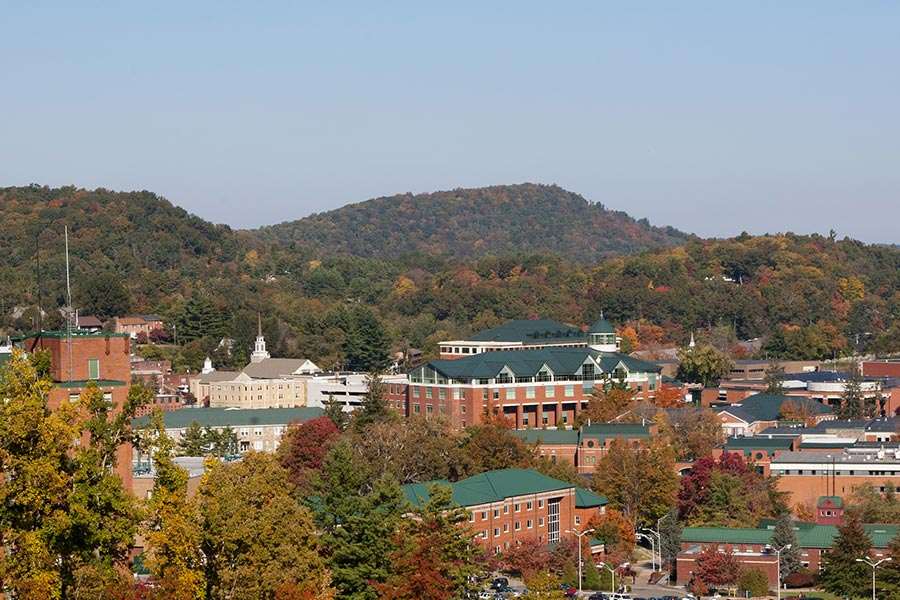 Appalachian State University in Boone NC is a North Carolina state college tucked away in the mountains.