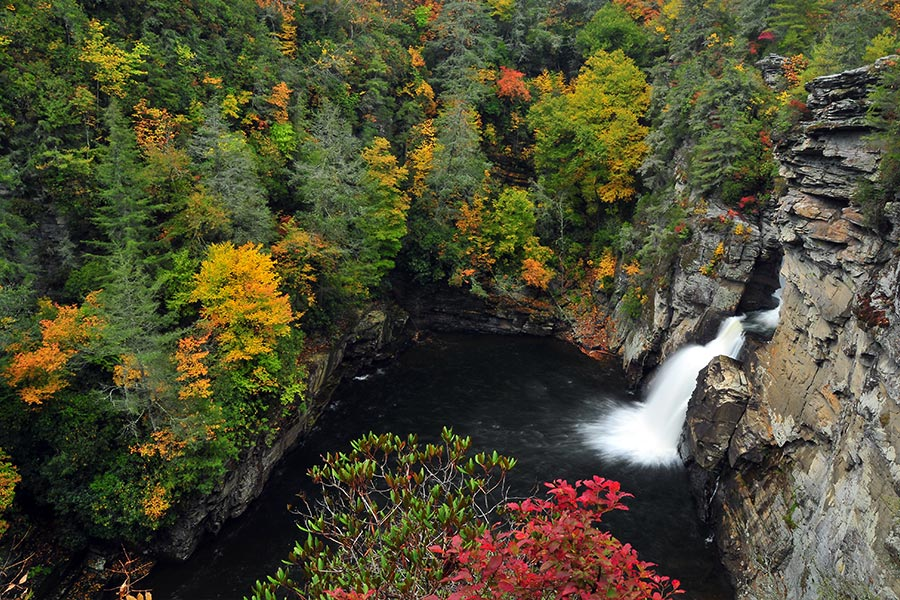Linville Falls has great hiking trails and swimming holes.