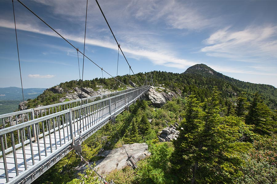 The Grandfather Mountain is known for it's mile high swinging bridge.