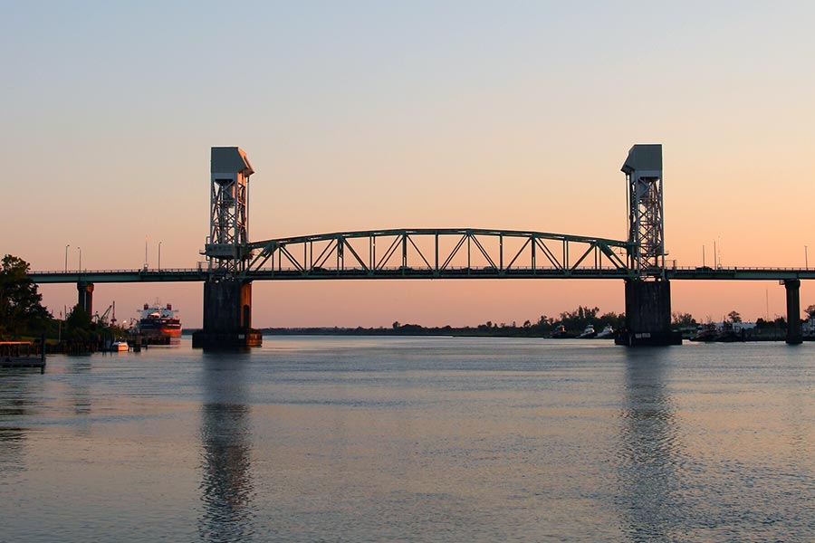 The Cape Fear Memorial Bridge at sunset.