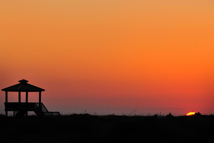 A beautiful sunset on Oak Island.