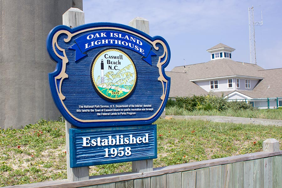 Oak Island lighthouse sign.