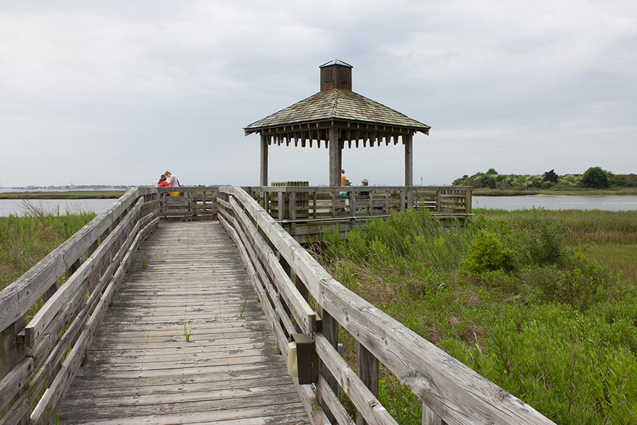 A gazebo on the water in Southport North Carolina.