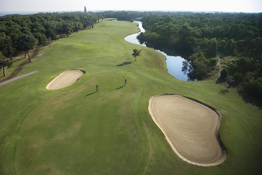 A great aerial shot of the impressive golf course on Bald Head Island.
