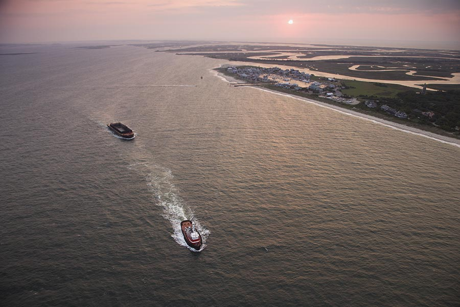 Another great aerial photo of Bald Head Island in the late afternoon.